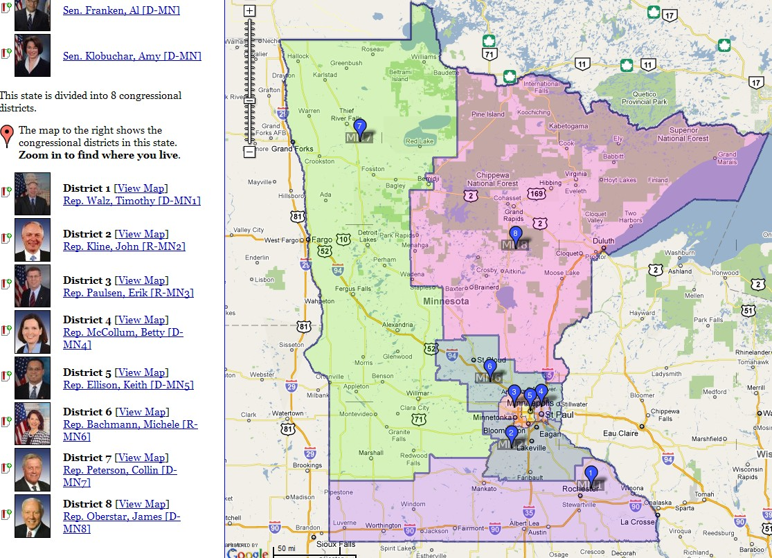 Minnesota Congressional Districts Map RESTORE LIBERTY - Us house of representatives district map michigan